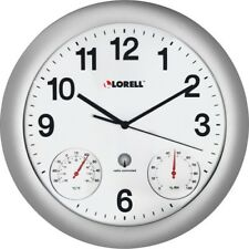"Analog Temperature/Humidity Wall Clock, 12"", Silver LLR61000"
