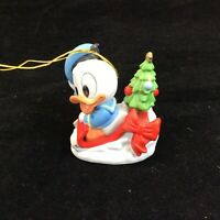 "Disney Donadl Duck Christmas Ornament 1984 Baby Sleigh Christmas Tree 3"" Tall"