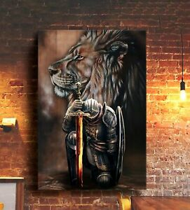 Christ Warrior Poster Lion Jesus Kneeling Warrior Vintage Wall Decor Gift