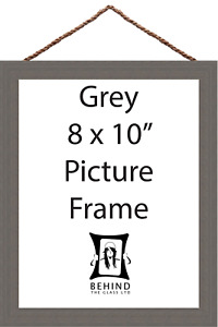 """Hanging Handmade Grey Wooden Picture/Photo Frame - 8x10"""" by Behind The Glass"""