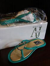 A J Valenci Jade Green & Gold Slip On Sandals Silver Accent 7 M NEW Box
