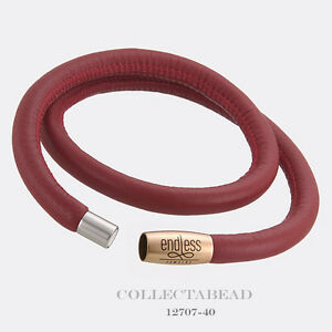 """Authentic Endless Rose Gold Plated Red Double Leather Bracelet 8.0"""" 12707-40"""