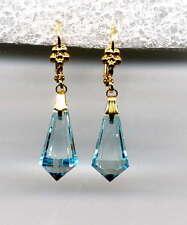 BABY BLUE TOPAZ CAROUSEL crystal BRIOLETTE Teardrop EARRINGS 14K Gold gp *Czech