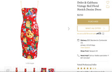 NWT D&G Dolce & Gabbana red floral bustier corset sheath dress IT 40 US 0-2 XS