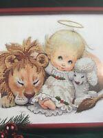 Cross Stitch Christmas Friends No Count Dimensions Kit  Lamb Lion Angel picture