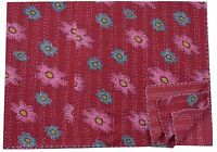 Indian Cotton Red Floral Kantha Quilt Reversible Throw Vintage Gudari Bedspread