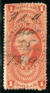 USA Revenue Stamp FOREIGN EXCHANGE $1 1869 Used {samwells-covers}YELLOW121