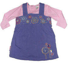 Size 00 - Baby Girls Bright Bots Purple Winter Dress & Pink Long Sleeve romper
