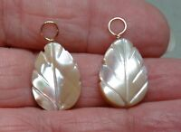 Creamy Mother of Pearl Leaf INTERCHANGEABLE Earring Charms STERLING, ROSE or YG