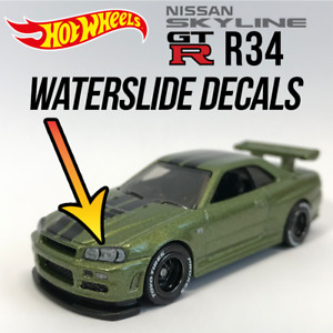 Hot Wheels Nissan GTR R34 WaterSlide White Toner Decal Headlight R35 Taillight