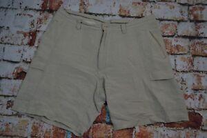 Cubavera Mens Shorts Linen Blend Size 36 Waist Tan
