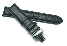 22mm Black or Brown Leather Alligator Watch Band Black, Silver Push Button Clasp