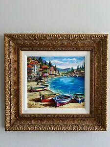"Anatoly Metlan ""Fisherman Boats"" Serigraph With Embellishment on Board"