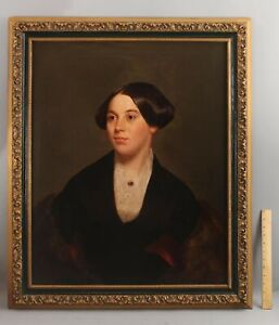19thC Antique American Boston Portrait Oil Painting Woman Ruby Brooch Fur Shawl