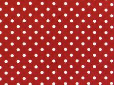 Wine Red/White 3mm POLKA DOTS 100% COTTON Poplin fabric craft spots retro 1m
