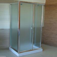 Box doccia 3 lati 80x100x80 scorrevole e anta fissa cristallo 6 mm vetro opaco