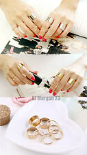 9 Ring Set of Stack Midi Finger and Thumb Rings in Gold Metal. You Get 9 Rings!!