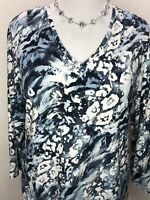 Chico's Size 3 XL Soft 3/4 Sleeve Top Blue White