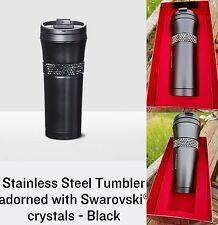 Starbucks Stainless Steel Tumbler Matte Black 16 Oz Swarovski Crystals Gift Box
