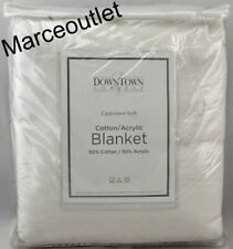Downtown Company Cashmere Soft Cotton Acrylic Full / Queen Bed Blanket White
