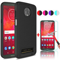 For Motorola Moto Z3/Z3 Play Hybrid Phone Case + Tempered Glass Screen Protector