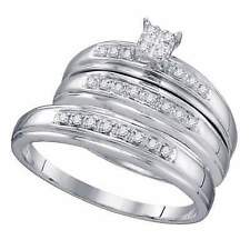 10k White Gold His Hers Round Diamond Cluster Matching Bridal Wedding Ring Set