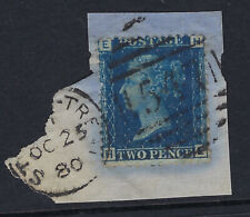 GB LINE ENGRAVED :1858 2d blue plate 15  H-E  SG47  used on piece