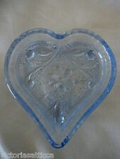 Collectible Lt.Cobalt Blue Heart Shaped Daisy Pressed Glass Tea Bag Holder
