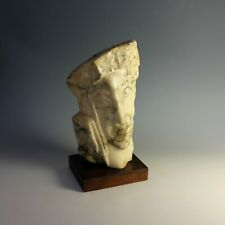 Vintage Abstract Alabaster Sculpture of a Head of Columbus, signed H. Lampe