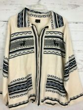 Artesania Landa Men's Sz M White Blue Zip Jacket 100% Cotton Hand Made Peru EE51