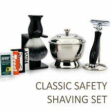 Shaving Set 4 Men Classic DE Safety Synthetic Hair brush Steel Bowl Razor Stand