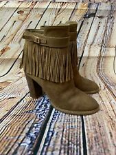 Ivanka Trump Preta Fringe Ankle Boot Camel Tan Size 7 Suede High Heel Bootie