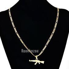 """MEN'S GOLD AK-47 RIFLE GUN PENDANT W 5mm 24"""" BRASS FIGARO CHAIN NECKLACE K434G"""