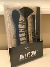 NYX Glow Brush Set (Fan Powder Buffing) Makeup Bag Bride Maid Mom Prom Gift
