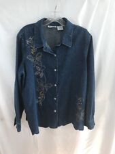 Blair Long Sleeve Large Petite Denim Blouse With Bling Butterflies On Front