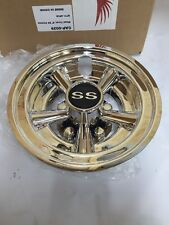 Golf Cart Hub Cap 8'' SS Chrome Club Car Yamaha Ezgo 8'' Hub Caps Wheel Cover