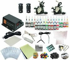 Complete Tattoo Kit 2 Liner&Shader machine Gun 25 Color Inks Power Supply Tk-39