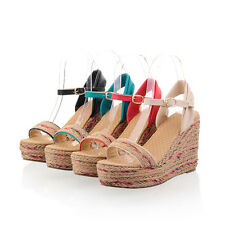 Ladies Shoes Platform Straw Weaved Wedge High Heels Strappy Sandals AU Size S398