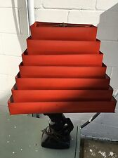 Mid Century Modern Retro RED TIN Lamp SHADE Asian style venetian