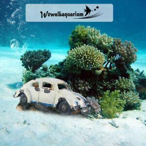 Car Wreck Aquarium Ornament Car Air Bubbler Fish Tank Bowl Decorations Cave Hide