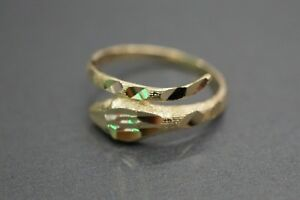Real 14K Solid Yellow Gold Diamond Shine Cut Snake Ring. Size 6.5