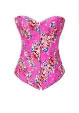 Alivila.Y Fashion Pink Floral Denim Overbust Corset Bustier -Size Large