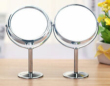 Double Sided Round Table Top Magnifying Mirror Cosmetic Makeup Shaving Swivel LD