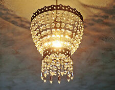 VINTAGE RETRO STYLE NEW CHANDELIER PENDANT LIGHT GLASS DROPS 2-TIER ELEGANT LAMP
