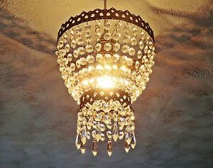 VINTAGE RETRO STYLE NEW CHANDELIER PENDANT LIGHT GLASS DROPS 2-TIER ELEGANT LAMP