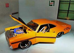 1:24 Modèle Plymouth GTX 1970 Orange Maisto Lowered Chaud Tige Personnalisé Die