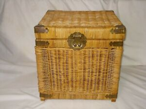 "Vtg wicker Rattan Trunk Cube 16"" Storage Chest brass decorative hardware Boho"