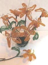 Vintage Lot 8 Glass Bead Flowers Day Lily Stems Leaves Orange Green