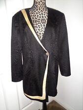 FAITH Black Yellow Trim Vintage Textured Crinkled Lined Blazer Jacket Size 18W