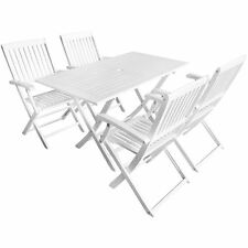 Patio 5 pcs Acacia Wooden Outdoor Garden Dining Set 4 Chairs + 1 Table White